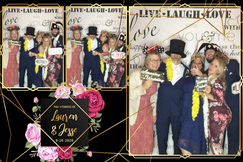Photo booth fun during a wedding reception