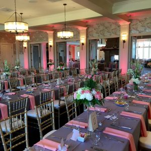 Uplighting at The Virginian Country Club in Bristol, Va with soft pink accents