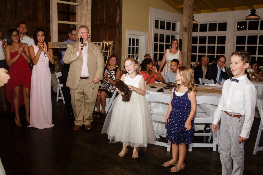 Wedding DJ Michael Durham during a fun moment at a reception at Cloudland Station
